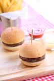 Two homemade hamburgers Royalty Free Stock Photo