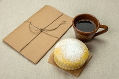 Two homemade milk biscuits with powdered sugar Stock Images