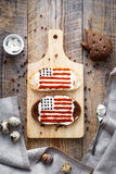 Two homemade sandwiches with image of american flag. Royalty Free Stock Photo