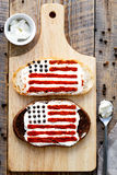 Two homemade sandwiches with image of american flag. Royalty Free Stock Images