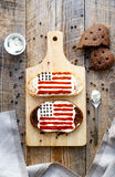 Two homemade sandwiches with image of american flag. Stock Images
