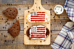 Two homemade sandwiches with image of american flag. Royalty Free Stock Image