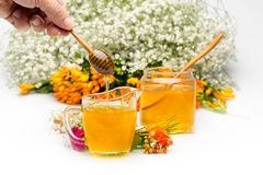 Two Honey jars with stick and flowers near Royalty Free Stock Photo