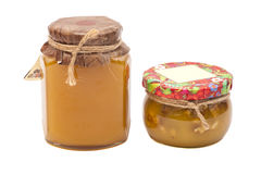 Two honey jars Stock Photo