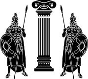 Two hoplits and column Stock Images