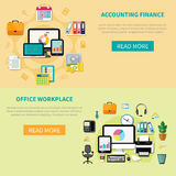 Two Horizontal Banners With Elements Of Office Interior. Two horizontal banners with accounting finance and office workplace design compositions with elements of Stock Images