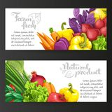 Two horizontal banners with fresh fruits and vegetables Stock Photos