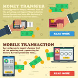 Two horizontal banners - mobile payment. Vector two horizontal banners mobile online payment. Financial operation, money online transaction, banking online, easy Stock Photos