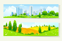 Two Horizontal Banners with Nature and City Stock Photos