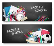 Two horizontal banners with school supplies. Stock Photos