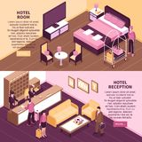 Colored Isometric Hotel Banner Set Stock Photos