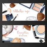 Two horizontal cosmetic banners on a black Royalty Free Stock Photography