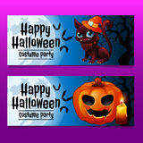 Two horizontal fun cards with cat and pumpkin Stock Image
