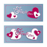 Two horizontal greeting banner Valentine`s Day. Vector lettering I love you on a blue background of the knitted fabric and sewn re Stock Photography