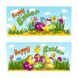 Two horizontal greeting cards with a holiday of Easter. Yellow chickens, easter eggs, decorated with a pattern and flowers. Vector Royalty Free Stock Photos