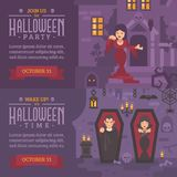 Two horizontal holiday banners with text. Join us for Halloween Stock Images