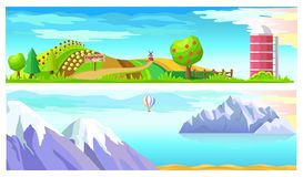 Vegetable Farm and Mountain Landscape Horizontal. Two horizontal images vector illustration. Fruit and fir trees, cabbage and sunflowers, water tower and red Royalty Free Stock Image