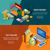 Two Horizontal Isometric Bank Service Banners. Two horizontal  bank service banners with online payments and money transfers isometric icons set vector Stock Image