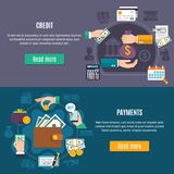 Money Flat Colored Banner Set. Two horizontal money flat colored banner set with credit and payment headlines and read more button vector illustration Stock Photography