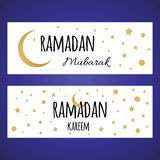 Two horizontal Ramadan banner set with golden crescent moon and star for Holy Month Royalty Free Stock Photos