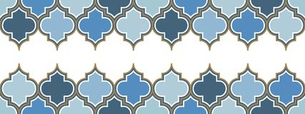 Two horizontal vector moroccan repeat seamless border. Light blue, gold beige line on white background royalty free illustration