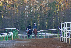 Two horse back rider in cold weather Stock Images