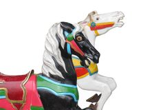 Two horse heads from a carrousel Royalty Free Stock Images