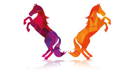Two Horse Jump illustration Vector Polygon Design Royalty Free Stock Photos