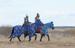 Two Horse knights in the field Stock Photos