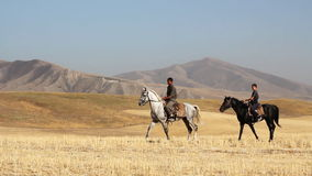 Two horseman in the mountains. The Horsecar on background of the mountains stock footage