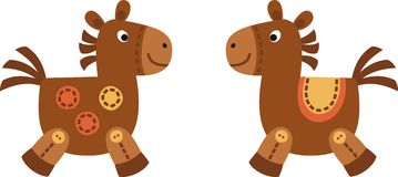 Two horses. Two toy horse made of cloth Royalty Free Stock Image
