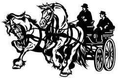 Two horses drawn carriage. Black and white isolated illustration Stock Photography