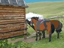 Two horses in front of the wooden house. And with gers in the back background Stock Image