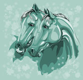 Two horses in love on blue Stock Images