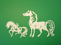 Two horses. Paper cutting. Stock Photography