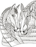 Two horses showing affection, zentangle stylized, vector. Illustration, freehand pencil, hand drawn, pattern, love. Print for t-shirts royalty free illustration