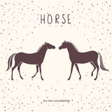 Two horses silhouette Royalty Free Stock Image