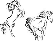 Two horses, simplified silhouettes Royalty Free Stock Photo