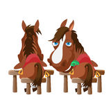 Two horses in stable, stand back and turn around Royalty Free Stock Photo