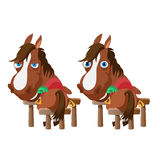 Two horses in stable stand back and turn around Royalty Free Stock Image