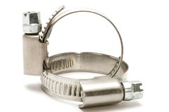Two hose clamp royalty free stock images