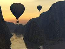 Two Hot-air Balloons Stock Images