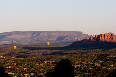 Two hot air balloons over the valley of Sedona, Arizona Royalty Free Stock Images