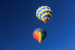 Two hot air balloons in the sky. Royalty Free Stock Images