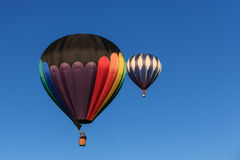 Two hot air balloons in the sky. Royalty Free Stock Photos