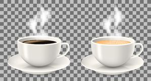 Two hot cups of coffee with steam on saucers. Objects on the transparent background. Americano, latte and cappuccino coffee royalty free illustration