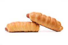 Two hot dog baked. Close up. White background royalty free stock photo