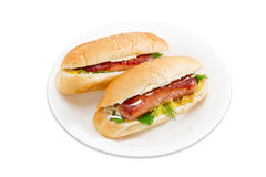 Two hot dog on a white dish. Two hot dog with grilled frankfurter, cheese and mayonnaise in bun with sesame seeds on a white dish on a light background stock photography