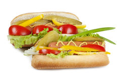 Two hot dogs with fresh vegetables Stock Photo