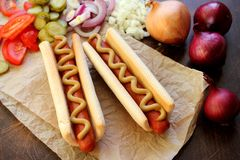 Two hot dogs with mustard Stock Image